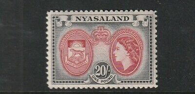 QEII NYASALAND 53 20/-  fresh lmm  cat £28