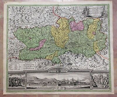 CLAGENFURT AUSTRIA by JB HOMANN 1720 18e CENTURY LARGE NICE ANTIQUE ENGRAVED MAP