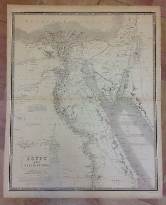 EGYPT AND ARABIA by A K JOHNSTON 19e CENTURY VERY LARGE ANTIQUE ENGRAVED MAP
