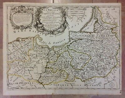 Poland Prussia Date 1689 De Rossi-Cantelli Da Vignola Large Unusual Antique Map