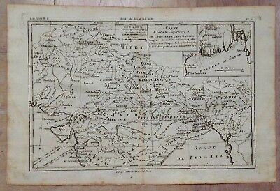 North India Tibet 1780 Rigobert Bonne Antique Copper Engraved Map 18Th Century