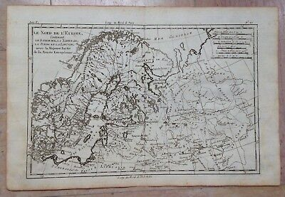 Northern Europe Russia 1780 Rigobert Bonne Antique Engraved Map 18Th Century