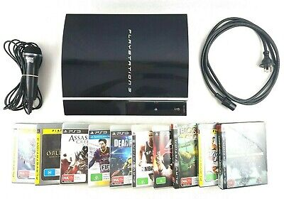 Sony Playstation 3 PS3 80GB Black Console-Power cable-10 elite games-Microphone