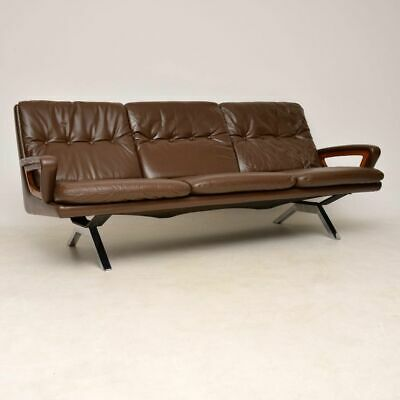 DANISH RETRO LEATHER CHROME & TEAK SOFA VINTAGE 1960's