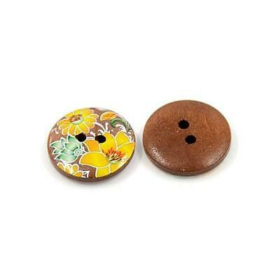 Mixed/Brown Wood Round Buttons 20mm Sew On 2 Holes BULK 4 Packs x 10 Pcs Sewing