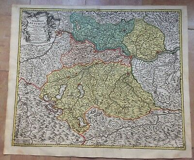 AUSTRIA JB HOMANN 1720 18e CENTURY LARGE NICE ANTIQUE COPPER ENGRAVED MAP