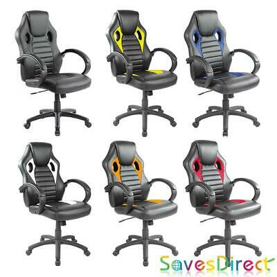 Reclining Leather Sports Racing Office Desk Chair Gaming Computer 7 Colours Uk