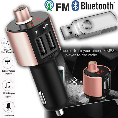 Car Kit FM Transmitter Wireless Radio Adapter USB Bluetooth Charger Mp3 Player +