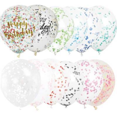 6PK 12IN 12'' Clear Confetti Filled Balloons Birthday Party Wedding Decorations