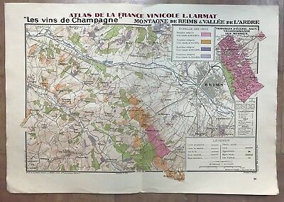 CHAMPAGNE FRANCE DATED 1944 by LARMAT LARGE ANTIQUE MAP OF WINE IN COLORS