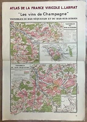 CHAMPAGNE LARGE MAP OF WINE BAR-SEQUANAIS/ BAR-SUR-AUBOIS 1944 by LARMAT
