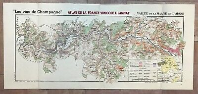 CHAMPAGNE LARGE MAP OF WINE MARNE & AISNE VALLEY DATED 1944 by LARMAT ANTIQUE