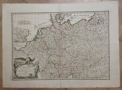 GERMANY 1782 by RIZZI-ZANNONI 18e CENTURY LARGE ANTIQUE COPPER ENGRAVED MAP