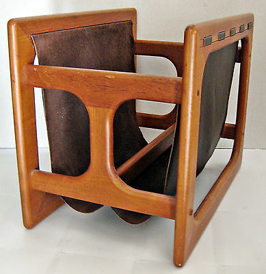 Vtg Mid Century Retro Eames Era Magazine Rack Holder Danish Teak Wood Leather