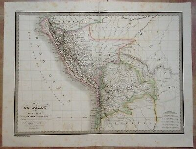 PERU DATED 1829 by LAPIE XIXe CENTURY LARGE ANTIQUE ENGRAVED MAP