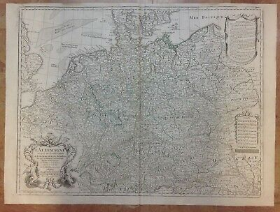 Germany Dated 1780 Guillaume De L'isle Large Antique Engraved Map 18Th Century