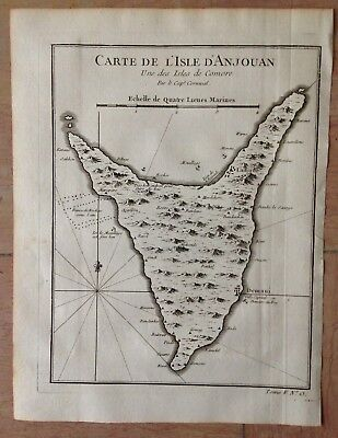 THE COMOROS ANJOUAN 1754 XVIIIe CENTURY by NICOLAS BELLIN ANTIQUE ENGRAVED MAP