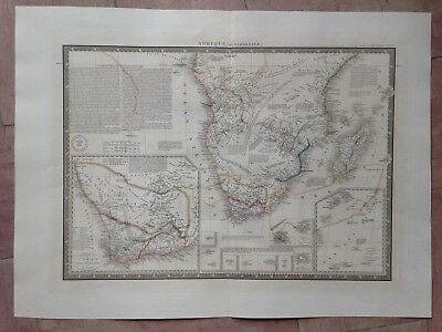 SOUTH AFRICA by BRUE LARGE ANTIQUE & DETAILED COPPER ENGRAVED MAP XIXe CENTURY