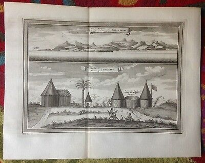 Sierra Leone People 1749 Bellin-Van Schley Antique Engraved View 18Th Cent.