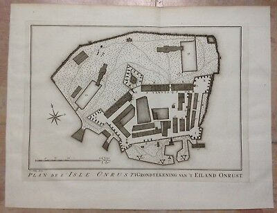 Jakarta Onrust Island 1757 N. Bellin-Van Schley Antique Detailed Engraved Plan