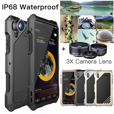 for iPhone X 8 7 Waterproof Case Shockproof Metal Defender Camera Lens Hybrid SM
