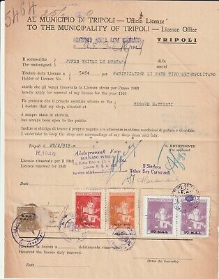 LIBYA , Old Document of Tripoli Municipality , Lot Revenue Stamps 1949