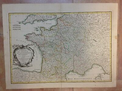 KINGDOM OF FRANCE 1762 by JANVIER 18e CENTURY LARGE NICE ANTIQUE ENGRAVED MAP