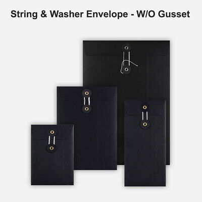DL C5 C6 Quality String&Washer Without Gusset Envelope Button Tie Black Color