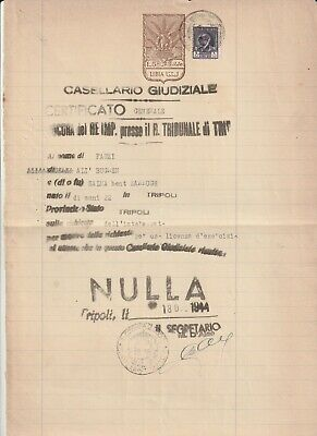 LIBYA , Old Document of Tripoli Municipality Revenue Stamps , 20 L. & 5 L , 1944