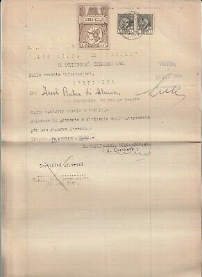 LIBYA , Old Document of Tripoli Municipality Revenue Stamps , 4 L. & 2 L , 1944