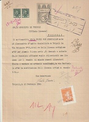 LIBYA , Old Document of Tripoli Municipality Revenue Stamps , 3 L. & 4 L , 1945