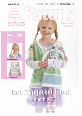 KNITTING PATTERN Girls cardigan Jacket knitted doll 2 match DK Wool NEW NOT COPY