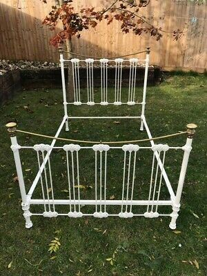 Antique/ Vintage Cast Iron Bed Frame, small double painted white