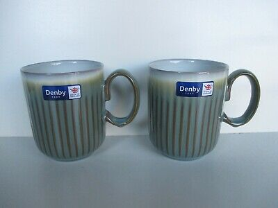 Denby Regency Green 2 x Fluted Mugs New First Quality Excellent Condition