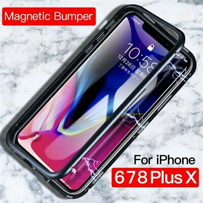 Magnetic Adsorption Metal Slim Tempered Glass Case Cover Fr iPhone X/6/8 Plus SO