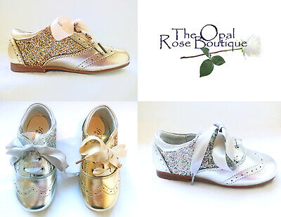 Gold Or Silver Sequin Glitter Spanish Patent Girls Kids Shoes Size 8 9 10 11 12