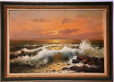 Francesco Maccarin Coastal Seascape Original Large 42x30 Oil on Canvas Painting