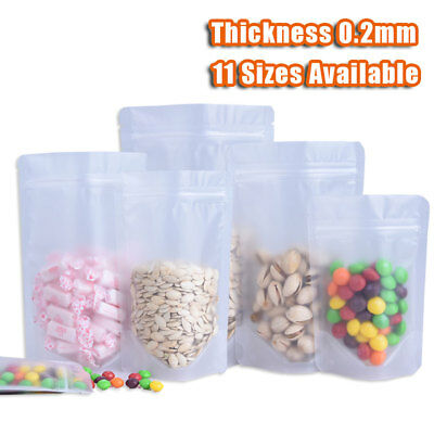 Clear Frosted Stand Up Ziplock Bag Resealable Plastic Food Grade Pouch 11 Sizes