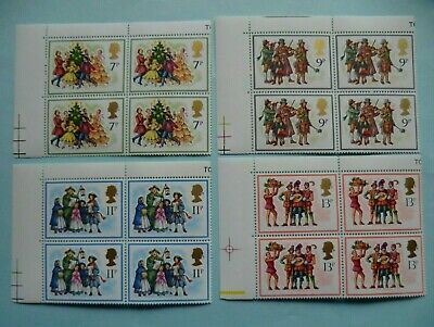 1978 Christmas GB Stamps Blocks of 4 With Sheet Edge - MNH