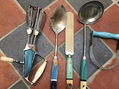 Collection Of Vintage Kitchen Utensils - Skyline Nutbrown- Kitchenalia - Blue
