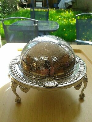 Vintage Etched Dome Silver Plated Roll Top Butter/Caviar Glass Dish Server Globe