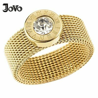 Roman Number Round Crystal Women Ring Luxury Wedding Jewelry Stainless Steel