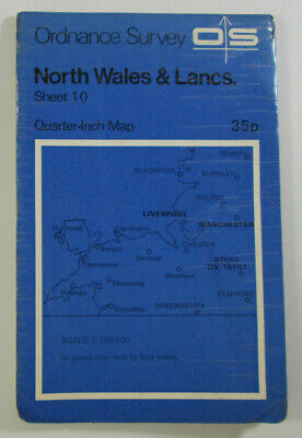 1973 Vintage OS Ordnance Survey Quarter-Inch Map Sheet 10 North Wales & Lancs