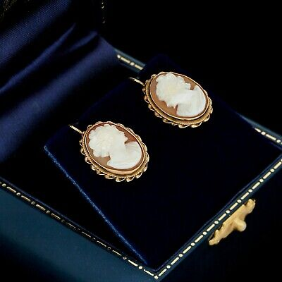 Antique Vintage Deco 14k Yellow Gold Etruscan Conch Shell Cameo Cluster Earrings