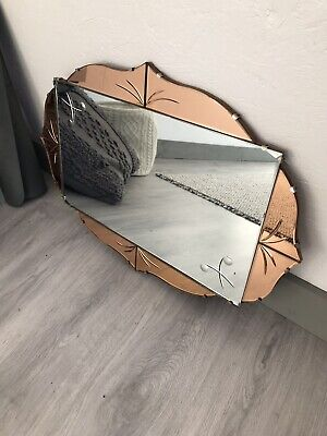 Art Deco Mirror Peach Mirror With Chain Tinted Pink Mirror Lovely Panel Mirror