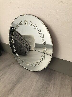 Vintage Mirror art deco Floating Round Etched mirror with Hanging chain