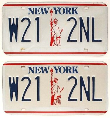 "New York 1986-2000 ""Statue of Liberty"" License Plate Pair, W21 2NL, DMV Clear"
