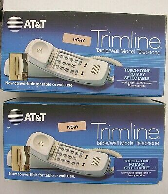 Two AT&T TRIMLINE Vintage Telephones, ivory color, table/wall model _ BRAND NEW