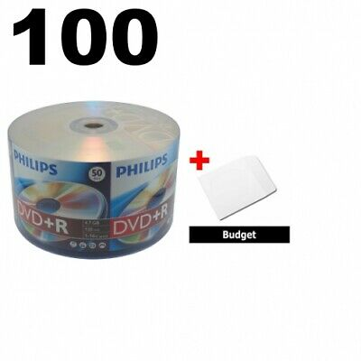 100 Philips 16X DVD+R 4.7GB (Philips Logo on Top) & 100 Paper Sleeves