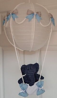 Hot air balloon light shade + blue elephant  looks stunning nursery baby